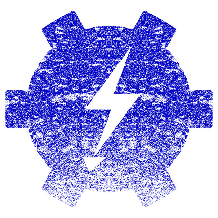 Electric Power Gear textured icon for overlay watermark stamps. Blue rasterized texture. Flat raster symbol with dust design. Blue rubber seal stamp imitation.
