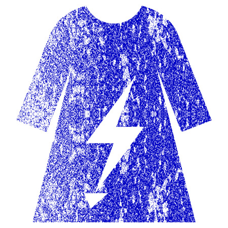 Electric Power Lady Dress textured icon for overlay watermark stamps. Blue rasterized texture. Flat raster symbol with scratched design. Blue rubber seal stamp imitation. Stock Photo