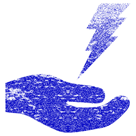 enforce: Electric Service Hand textured icon for overlay watermark stamps. Blue rasterized texture. Flat raster symbol with dirty design. Blue rubber seal stamp imitation. Stock Photo