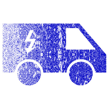 dirty car: Electrical Car textured icon for overlay watermark stamps. Blue rasterized texture. Flat raster symbol with dust design. Blue rubber seal stamp imitation.
