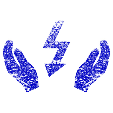 Electrical Power Maintenance Hands textured icon for overlay watermark stamps. Blue rasterized texture. Flat raster symbol with dirty design. Blue rubber seal stamp imitation.