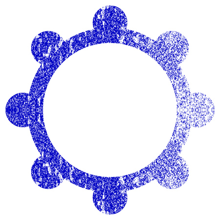 Gear textured icon for overlay watermark stamps. Blue rasterized texture. Flat raster symbol with unclean design. Blue rubber seal stamp imitation. Stock Photo