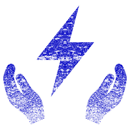 Electricity Maintenance Hands textured icon for overlay watermark stamps. Blue rasterized texture. Flat raster symbol with scratched design. Blue rubber seal stamp imitation. Stock Photo