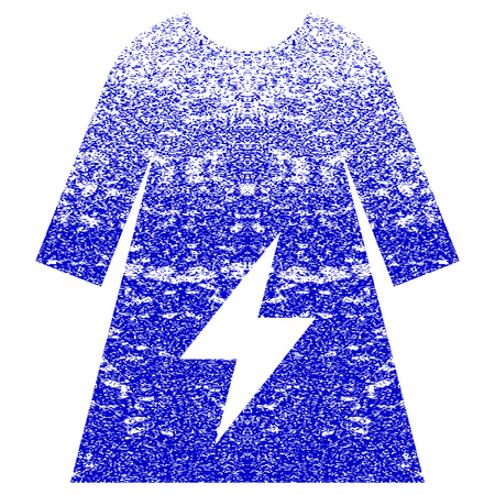 corroded: Electricity Female Dress textured icon for overlay watermark stamps. Blue rasterized texture. Flat raster symbol with dirty design. Blue rubber seal stamp imitation.