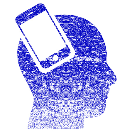Smartphone Head Integration textured icon for overlay watermark stamps. Blue rasterized texture. Flat raster symbol with unclean design. Blue rubber seal stamp imitation. Stock Photo