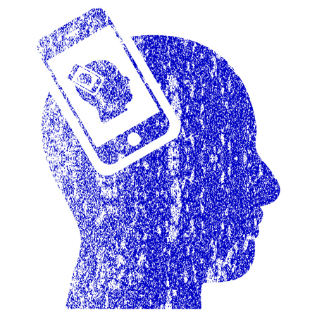 Smartphone Head Plugin Recursion textured icon for overlay watermark stamps. Blue rasterized texture. Flat raster symbol with dirty design. Blue rubber seal stamp imitation. Stock Photo