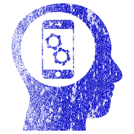 corroded: Smartphone Mind Control textured icon for overlay watermark stamps. Blue rasterized texture. Flat raster symbol with unclean design. Blue rubber seal stamp imitation. Stock Photo