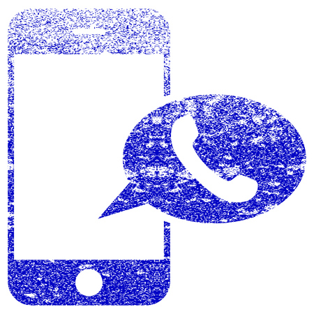 Smartphone Call Balloon textured icon for overlay watermark stamps. Blue rasterized texture. Flat raster symbol with unclean design. Blue rubber seal stamp imitation.