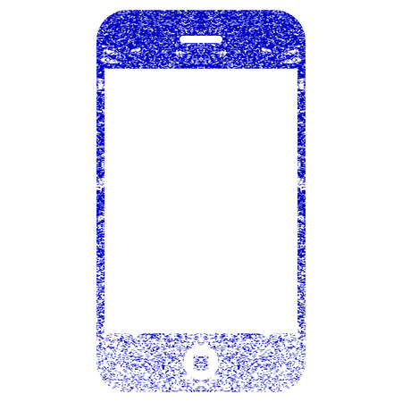 corroded: Smartphone textured icon for overlay watermark stamps. Blue rasterized texture. Flat raster symbol with dirty design. Blue rubber seal stamp imitation.