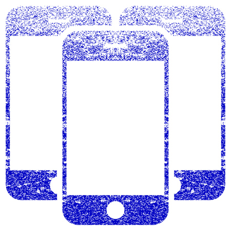 corroded: Smartphones textured icon for overlay watermark stamps. Blue rasterized texture. Flat raster symbol with dust design. Blue rubber seal stamp imitation.