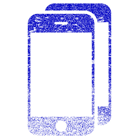 old phone: Smartphones textured icon for overlay watermark stamps. Blue rasterized texture. Flat raster symbol with dust design. Blue rubber seal stamp imitation.