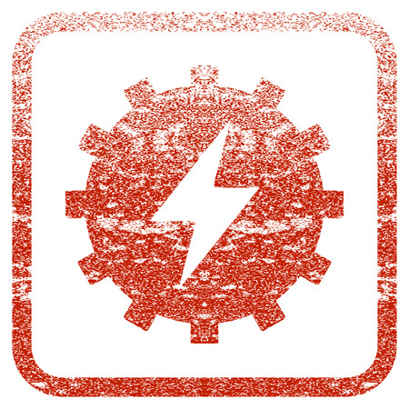 Electric Energy Gear textured icon for overlay watermark stamps. Red vectorized texture. Flat red vector symbol with scratched design inside rounded square frame. Framed rubber seal stamp imitation. Illustration