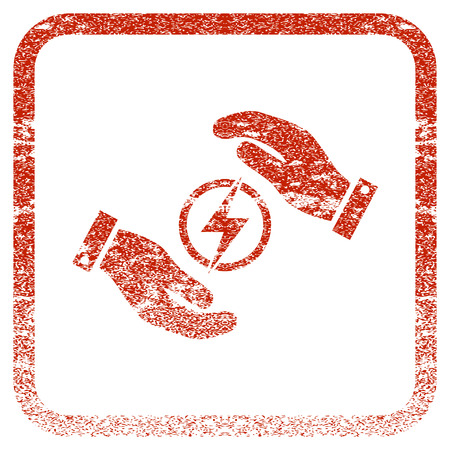 Electric Energy Insurance Hands textured icon for overlay watermark stamps. Red vectorized texture. Flat red vector symbol with scratched design inside rounded square frame. Illustration