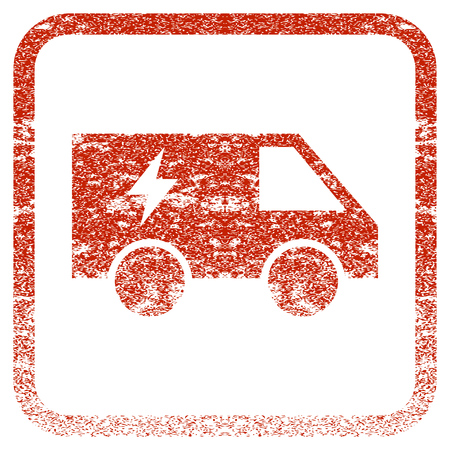 corroded: Electric Power Car textured icon for overlay watermark stamps. Red vectorized texture. Flat red vector symbol with scratched design inside rounded square frame. Framed rubber seal stamp imitation.