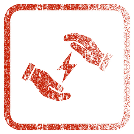 corroded: Electricity Care Hands textured icon for overlay watermark stamps. Red vectorized texture. Flat red vector symbol with dust design inside rounded square frame. Framed rubber seal stamp imitation.