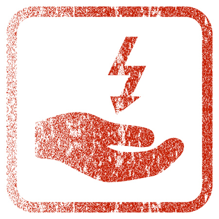 corroded: Electricity Supply Hand textured icon for overlay watermark stamps. Red vectorized texture. Flat red vector symbol with unclean design inside rounded square frame. Framed rubber seal stamp imitation.