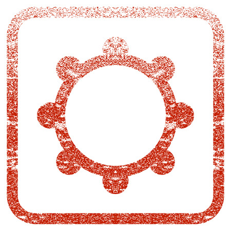 Gear textured icon for overlay watermark stamps. Red vectorized texture. Flat red vector symbol with dirty design inside rounded square frame. Framed rubber seal stamp imitation.