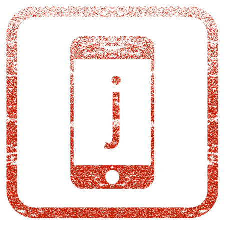 J Phone textured icon for overlay watermark stamps. Red vectorized texture. Flat red vector symbol with dust design inside rounded square frame. Framed rubber seal stamp imitation.