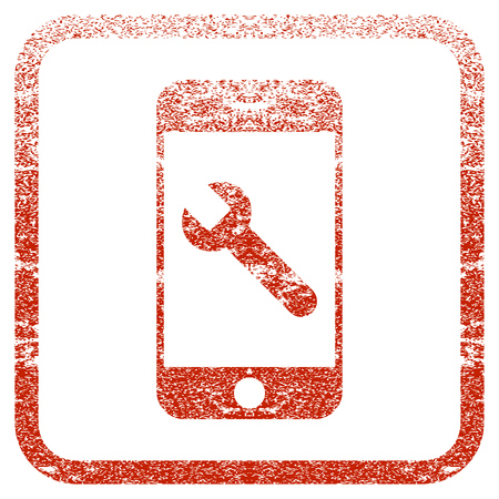 Smartphone Options Wrench textured icon for overlay watermark stamps. Red vectorized texture. Flat red vector symbol with dirty design inside rounded square frame. Framed rubber seal stamp imitation.