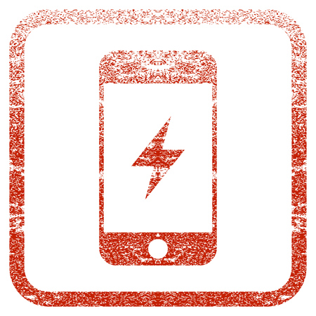 Smartphone Electricity textured icon for overlay watermark stamps. Red vectorized texture. Flat red vector symbol with unclean design inside rounded square frame. Framed rubber seal stamp imitation.