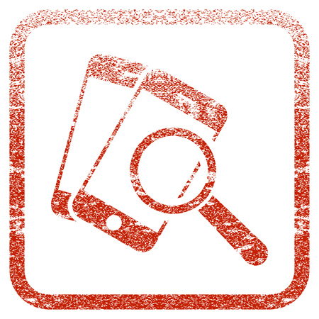 Smartphone Magnifier Search Tool textured icon for overlay watermark stamps. Red vectorized texture. Flat red vector symbol with scratched design inside rounded square frame.