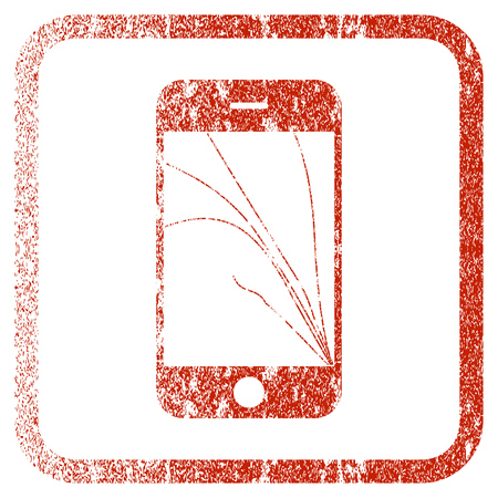 Smartphone Screen Cracks textured icon for overlay watermark stamps. Red vectorized texture. Flat red vector symbol with dirty design inside rounded square frame. Framed rubber seal stamp imitation. Illustration
