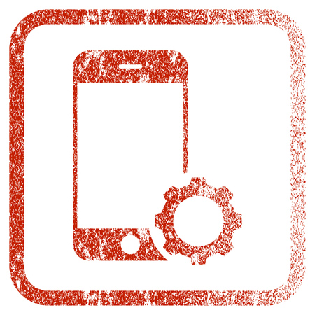 Smartphone Setup Gear textured icon for overlay watermark stamps. Red vectorized texture. Flat red vector symbol with dust design inside rounded square frame. Framed rubber seal stamp imitation. Illustration