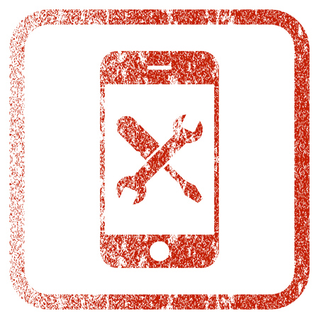 Smartphone Tools textured icon for overlay watermark stamps. Red vectorized texture. Flat red vector symbol with unclean design inside rounded square frame. Framed rubber seal stamp imitation.