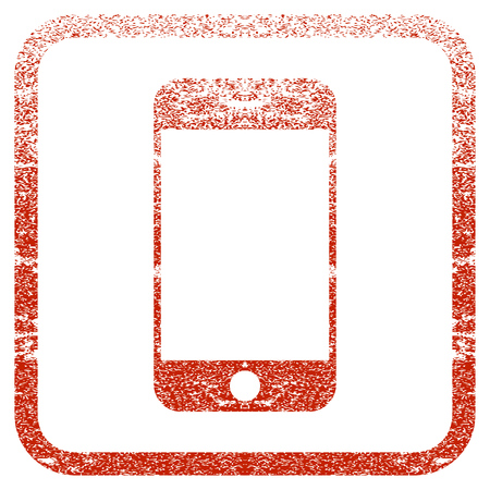 old phone: Smartphone textured icon for overlay watermark stamps. Red vectorized texture. Flat red vector symbol with dust design inside rounded square frame. Framed rubber seal stamp imitation.