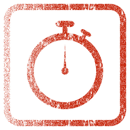 Stopwatch textured icon for overlay watermark stamps. Red vectorized texture. Flat red vector symbol with dust design inside rounded square frame. Framed rubber seal stamp imitation. Illustration
