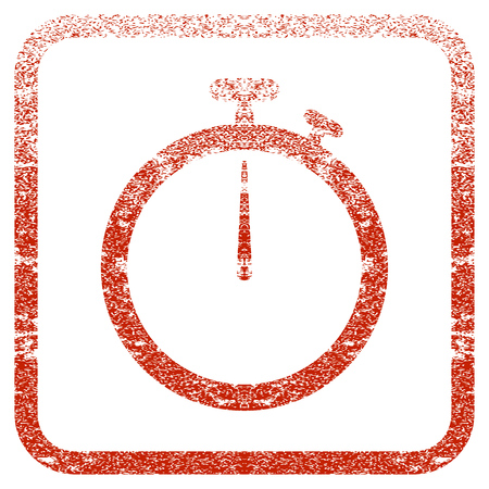 corrosion: Stopwatch textured icon for overlay watermark stamps. Red vectorized texture. Flat red vector symbol with unclean design inside rounded square frame. Framed rubber seal stamp imitation. Illustration