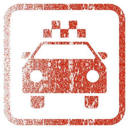corroded: Taxi Automobile textured icon for overlay watermark stamps. Red vectorized texture. Flat red vector symbol with dust design inside rounded square frame. Framed rubber seal stamp imitation. Illustration