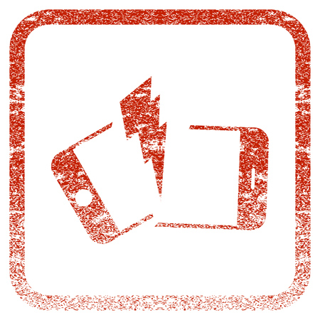 Broken Smartphone textured icon for overlay watermark stamps. Red rasterized texture. Flat red raster symbol with scratched design inside rounded square frame. Framed rubber seal stamp imitation. Stock Photo