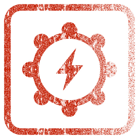 corroded: Electric Energy Cogwheel textured icon for overlay watermark stamps. Red rasterized texture. Flat red raster symbol with dirty design inside rounded square frame. Framed rubber seal stamp imitation. Stock Photo