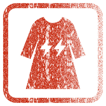 corrosion: Electric Energy Girl Dress textured icon for overlay watermark stamps. Red rasterized texture. Flat red raster symbol with scratched design inside rounded square frame.
