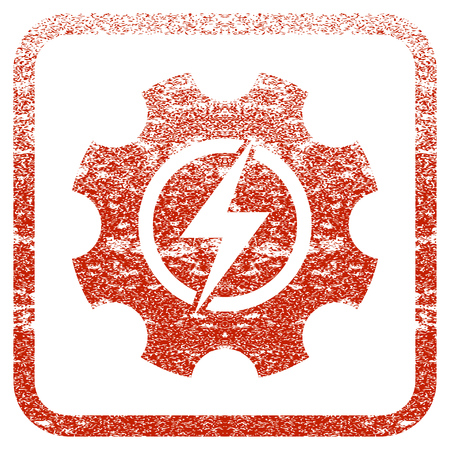 Electric Power Cog Gear textured icon for overlay watermark stamps. Red rasterized texture. Flat red raster symbol with unclean design inside rounded square frame. Framed rubber seal stamp imitation.