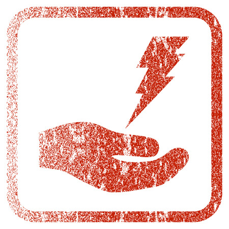 voltage sign: Electric Service Hand textured icon for overlay watermark stamps. Red rasterized texture. Flat red raster symbol with dust design inside rounded square frame. Framed rubber seal stamp imitation. Stock Photo
