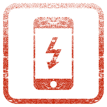 Electric Smartphone textured icon for overlay watermark stamps. Red rasterized texture. Flat red raster symbol with scratched design inside rounded square frame. Framed rubber seal stamp imitation.