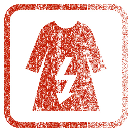 shocking: Electric Woman Dress textured icon for overlay watermark stamps. Red rasterized texture. Flat red raster symbol with unclean design inside rounded square frame. Framed rubber seal stamp imitation.
