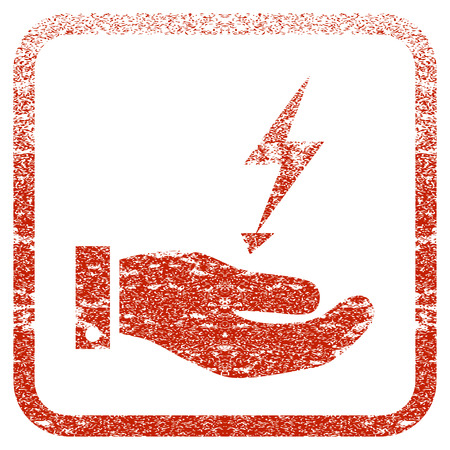 Electricity Supply Hand textured icon for overlay watermark stamps. Red rasterized texture. Flat red raster symbol with dust design inside rounded square frame. Framed rubber seal stamp imitation.