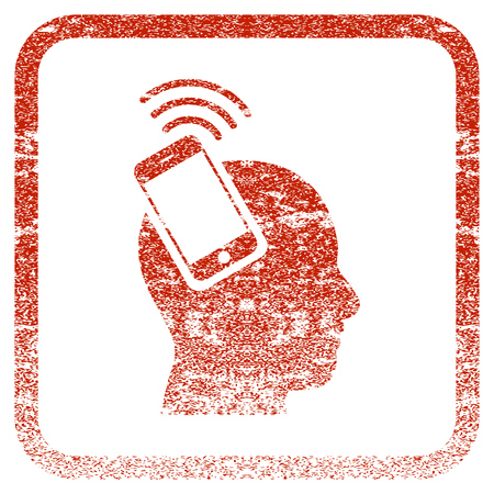 Head Smartphone Plugin Ring textured icon for overlay watermark stamps. Red rasterized texture. Flat red raster symbol with unclean design inside rounded square frame.