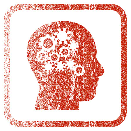Human Mind Gears textured icon for overlay watermark stamps. Red rasterized texture. Flat red raster symbol with unclean design inside rounded square frame. Framed rubber seal stamp imitation.
