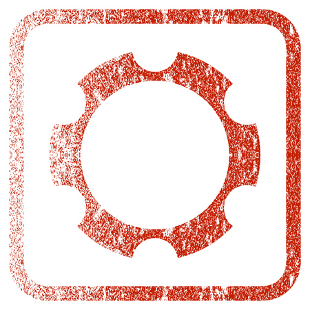 Gear Wheel textured icon for overlay watermark stamps. Red rasterized texture. Flat red raster symbol with scratched design inside rounded square frame. Framed rubber seal stamp imitation.