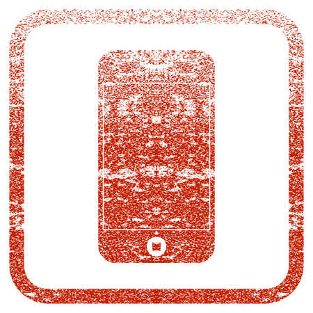 Mobile Phone textured icon for overlay watermark stamps. Red rasterized texture. Flat red raster symbol with dirty design inside rounded square frame. Framed rubber seal stamp imitation.
