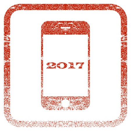 old phone: Smartphone 2017 textured icon for overlay watermark stamps. Red rasterized texture. Flat red raster symbol with unclean design inside rounded square frame. Framed rubber seal stamp imitation.