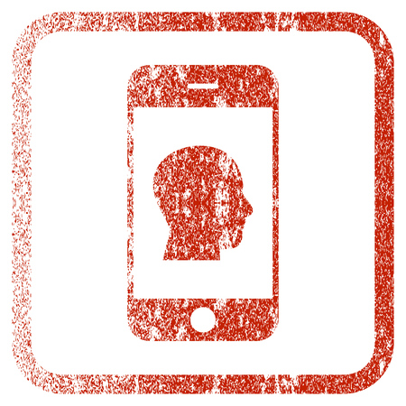 corroded: Smartphone Contact Human Portrait textured icon for overlay watermark stamps. Red rasterized texture. Flat red raster symbol with unclean design inside rounded square frame.