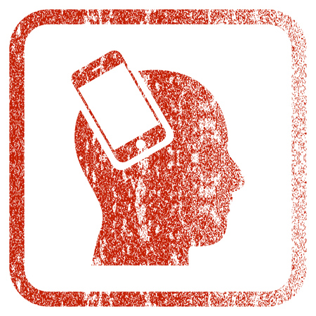 Smartphone Head Integration textured icon for overlay watermark stamps. Red rasterized texture. Flat red raster symbol with dirty design inside rounded square frame.