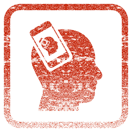 Smartphone Head Plugin Recursion textured icon for overlay watermark stamps. Red rasterized texture. Flat red raster symbol with dirty design inside rounded square frame.