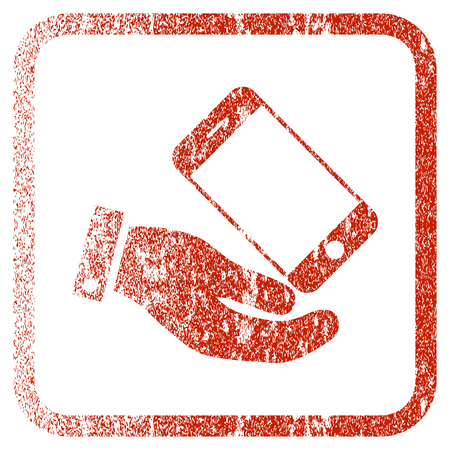 Smartphone Offer Hand textured icon for overlay watermark stamps. Red rasterized texture. Flat red raster symbol with scratched design inside rounded square frame. Framed rubber seal stamp imitation.