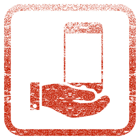 Smartphone Offer Hand textured icon for overlay watermark stamps. Red rasterized texture. Flat red raster symbol with dirty design inside rounded square frame. Framed rubber seal stamp imitation.